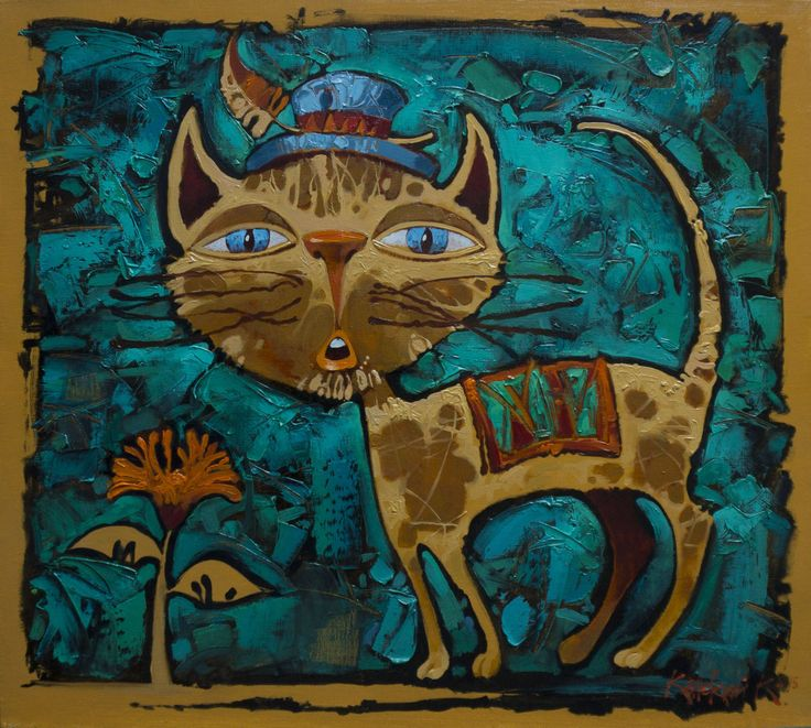 """kitten"" painting, oil on canvas 40h45sm 2015"