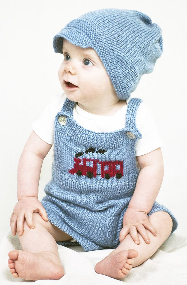 Free Knitting Pattern for Train Conductor Baby Overalls and Hat - Adorable train inspired baby set with train motif. Sizes 3 mo, 6 mo, 12 mo Designed by Susie Bonell for Cascade Yarns
