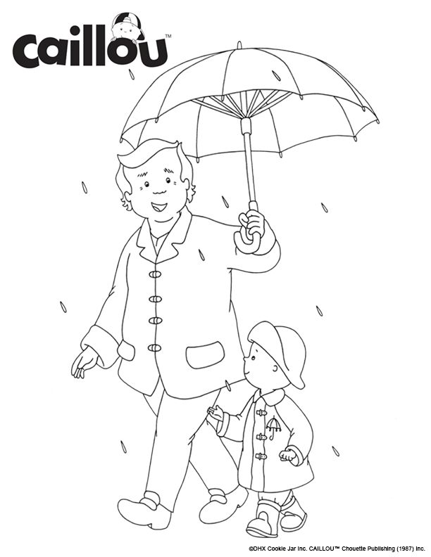 print color caillou grandpa rainy day coloring sheet activity grandparentsday - Caillou Gilbert Coloring Pages