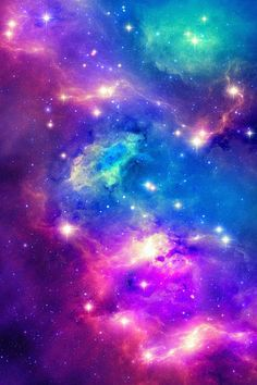 Pink, purple, green, and blue galaxy phone wallpaper.
