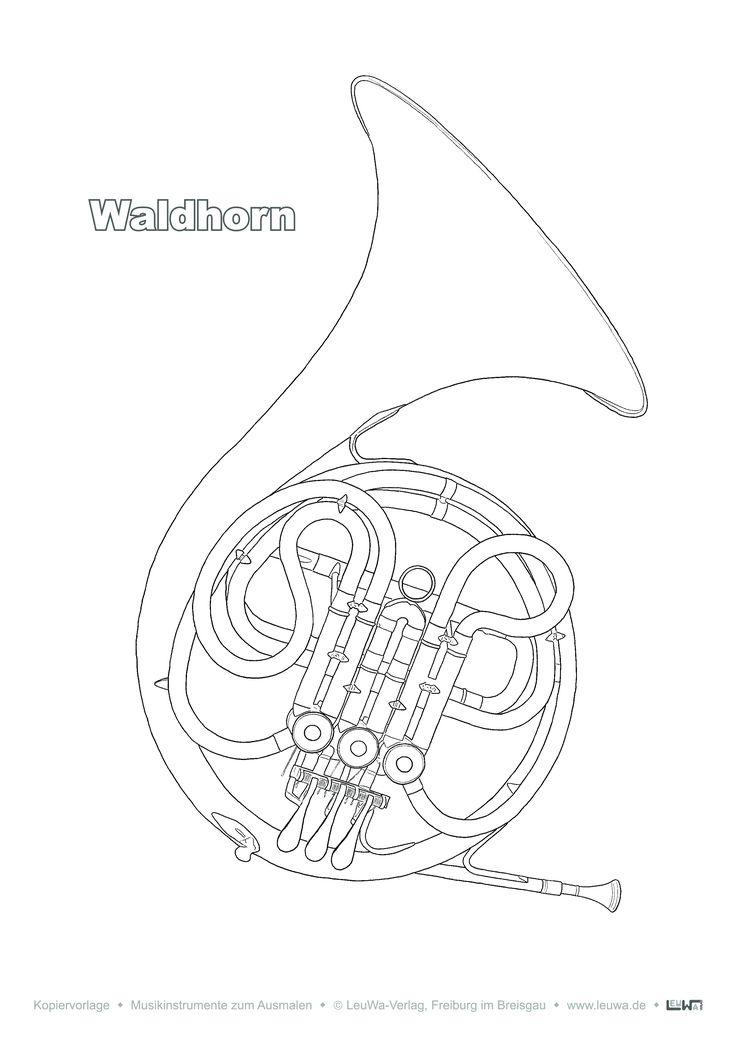 musikinstrument zum ausmalen  waldhorn