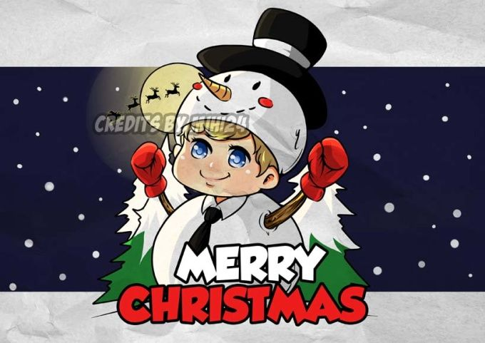 draw chibi or cartoon with christmas theme