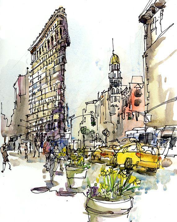 Schizzo di New York, Flatiron Building, New York City stampa archivio da uno schizzo dell