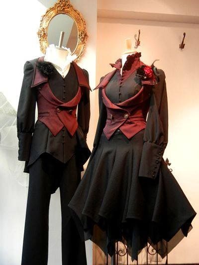 His and Hers red Victorian steampunk gothic Tim burton