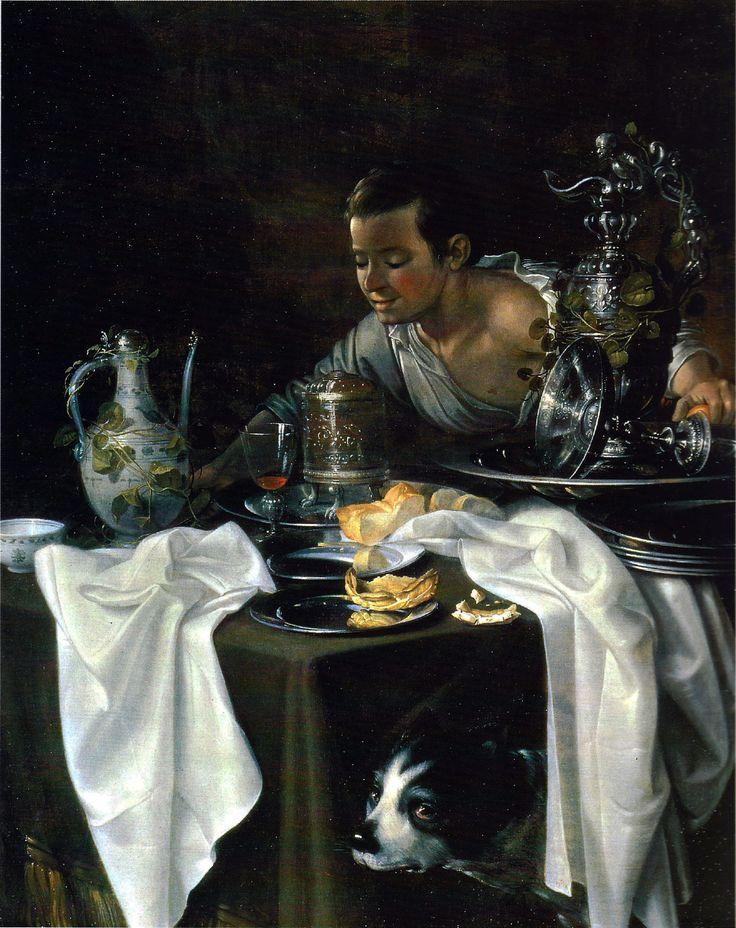 Sebastien Stoskopff, table desservie metal porcelaine v serveur,Trompe-l'oeil painting