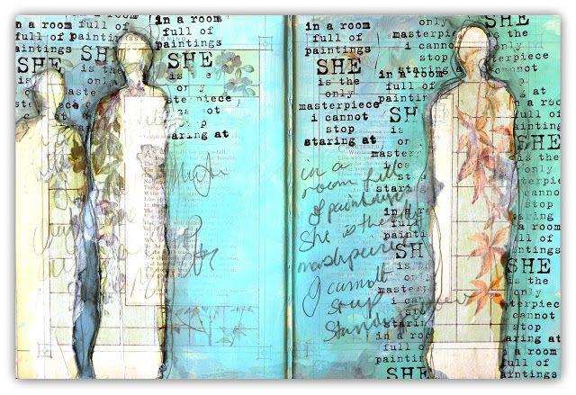 Pastiche Scrapbook Studio: Masked Ladies Art Journal Page for Donna Downey Studios