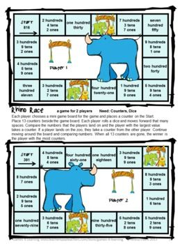 FREEBIE Place Value Games for 3 Digit Numbers - from Games 4 Learning This contains 2 printable Place Value Board Games.