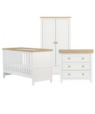 <p>Designed in classic white with a contrasting oak effect feature, the Mothercare Lulworth collection brings a contemporary touch to your little ones nursery.</p><p>The Lulworth cot bed has a three-position mattress base and converts from a cot bed to toddler bed when needed. Designed in classic white with a contemporary contrasting oak effect capping rail, the Lulworth cot bed will look stylish in any room.</p><p>The changing unit offers three drawers' worth of storage space, making it…