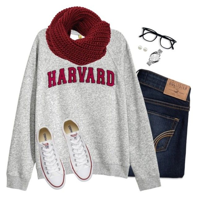"""""""Comfy fall style"""" by steffiestaffie ❤ liked on Polyvore featuring Hollister Co., H&M, Converse, Majorica and Michael Kors"""