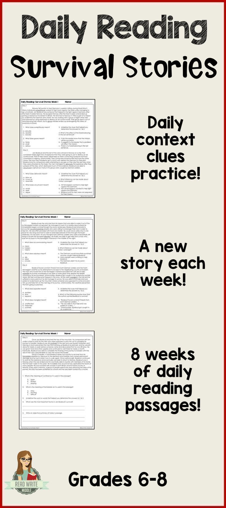 Two Daily Opportunities For Context Clues Practice Plus Another Reading Comprehension Quest Context Clues Reading Comprehension Questions Reading Comprehension Daily reading comprehension grade 8