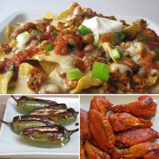 10 Tantalizing bites for the Super Bowl...some of them look amazing!Superbowl Snacks, Pinto Beans, Beans Nachos, Food, Super Bowls, Chorizo Nachos, Appetizers, Mr. Beans, Chorizo Pinto
