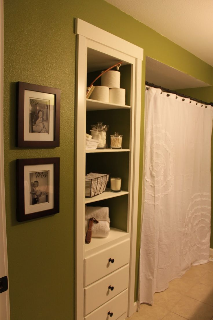 Built in bathroom storage - Behr Grape Leaves Green And White Bathroom White Shower Curtain From Target Bathroom Built