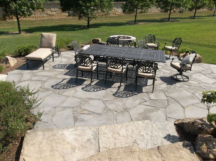 Flagstone Patio And Natural Stone Steps And Landscaping