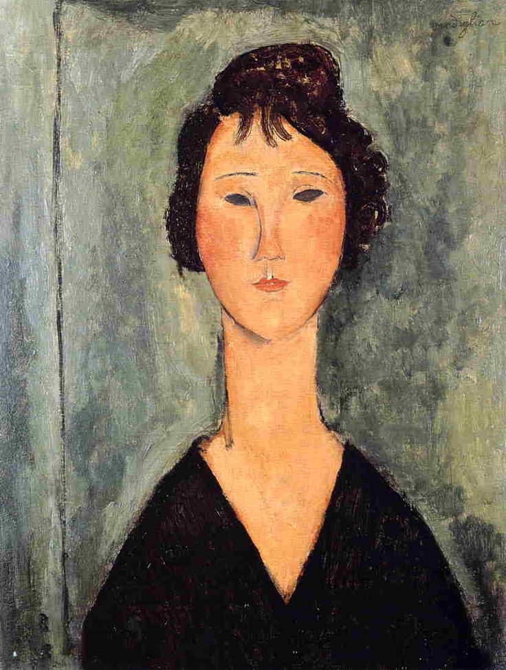 Portrait of a Woman Amedeo Modigliani (1919) Private collection Painting - oil on cardboard