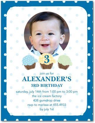 Cupcake Trio: Oasis - Studio Basics: Photo Birthday Party Invitations in Oasis | Tiny Prints Studio Basics