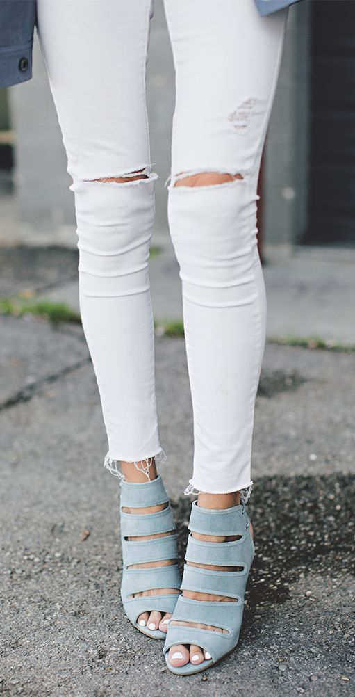 Blue suede shoes n white ripped ♡