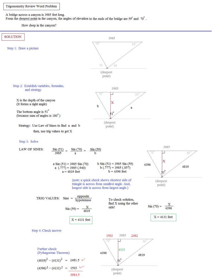 trigonometry review word problem   Word problems, Word ...