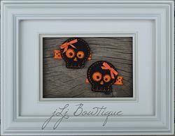 Orange & Black Skull Hair Clips - $5.00 for set on jLj Bowtique
