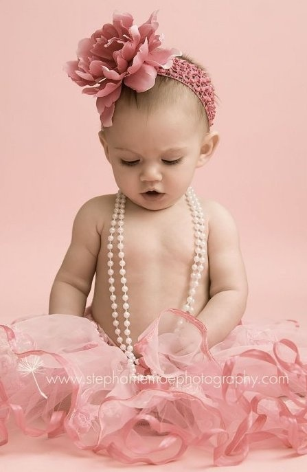baby with pearls & pink