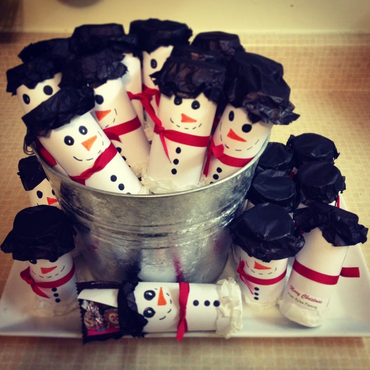 Snowmen piñatas using toilet paper rolls. Wrap with paper, cover bottom with 2 pieces of tissue paper and hot glue them down. Full with light candy (I used m's and 3-4 Hersey Kisses and some stickers) then seal top with 2 pieces of tissue paper. Trim the tissue paper ends and decorate! :) Punch one end to retrieve the goodies!