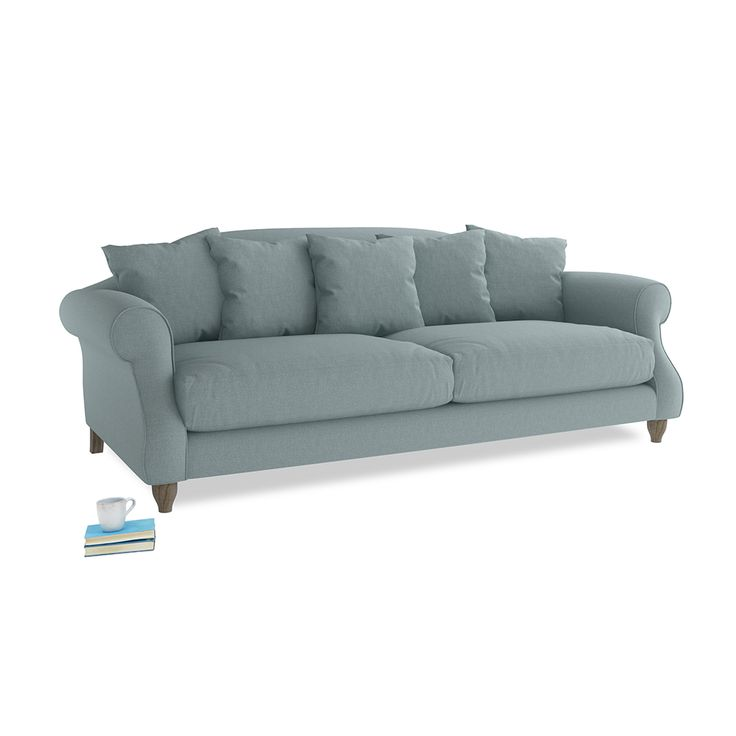 Large Sloucher Sofa in Smoke Blue Brushed Cotton