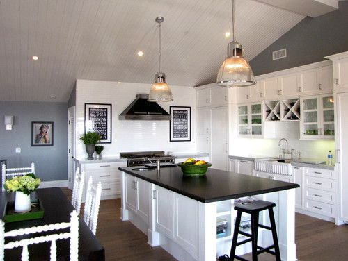 Two Different Granite Countertops Honed Black Farmhouse Sink Pendant Lights And