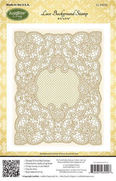 JustRite Papercraft Lace Background Stamp