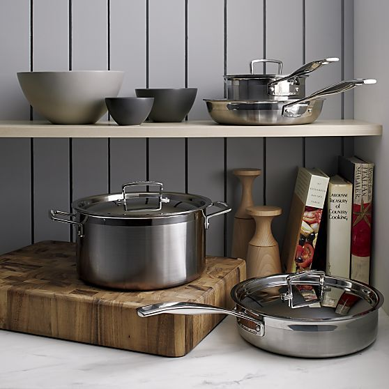 Le Creuset ® 6.4 qt. Stainless Steel Stock Pot with Lid | Crate and Barrel
