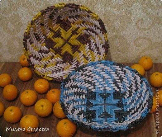Газетное плетение - тарелки