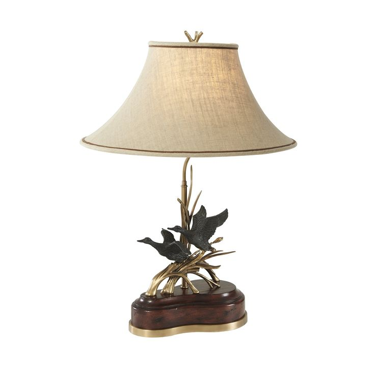 A Finely Cast Brass And Mahogany Table Lamp, The Body Of A Cast Polished  Brass