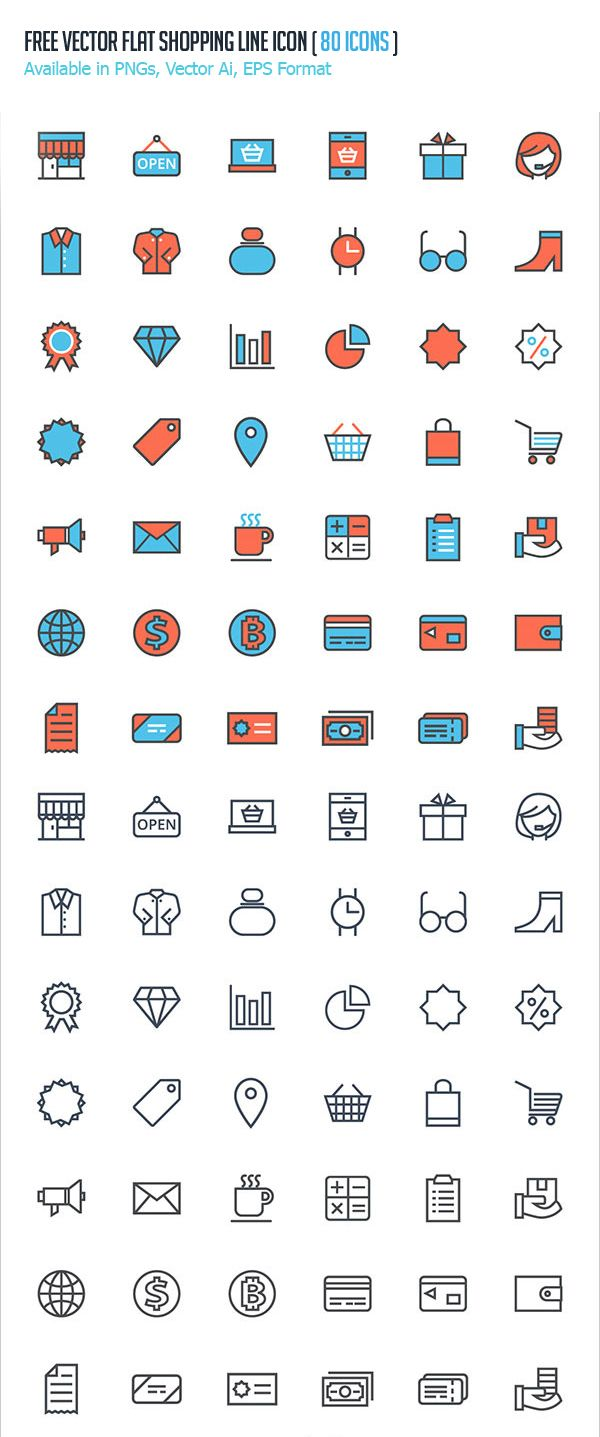 Free Vector Flat Shopping Line Icons - (80+ Icons) #androidicons #freeicons #psdicons #vectoricons #ios8icons
