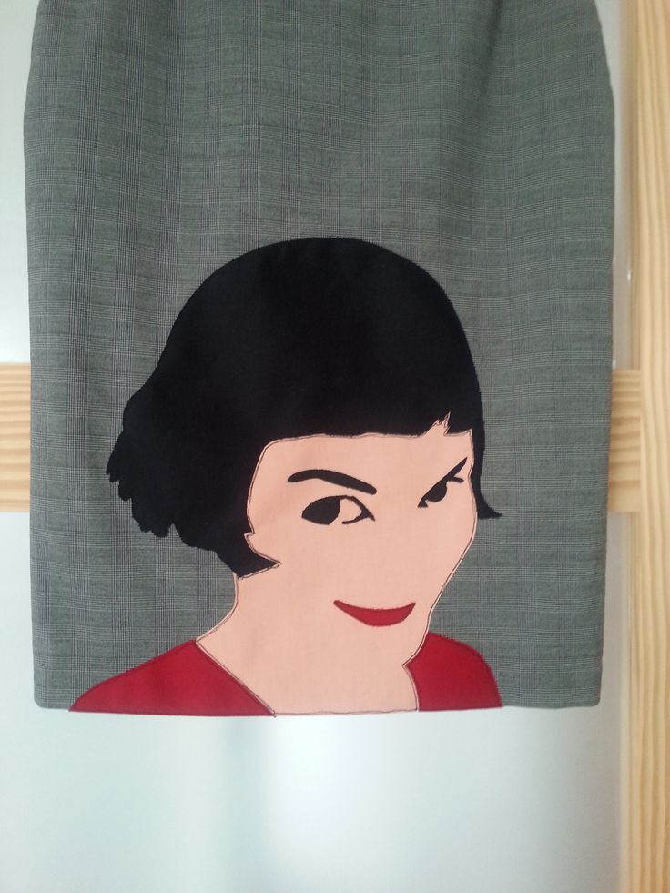 Amelie  Upcycled skirt with applique - image of Amelie from the french film of the same name, played by the beautiful actress, Audrey Tautou.  Fashion, clothing, design, sewing, wearable art, embroidery, cinema