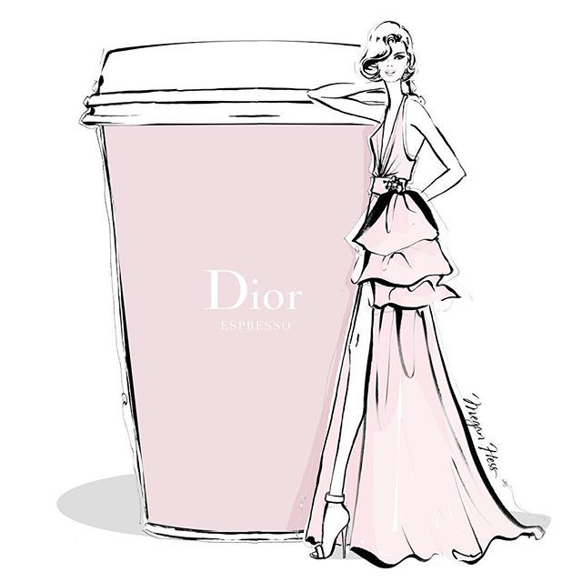 Megan Hess - Monday coffee in chic DIOR pale pink