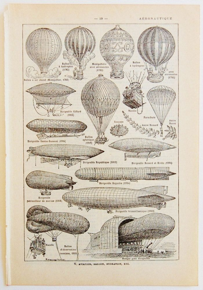 Antique French Dictionary Page - Aviation - Aeronautic, Hot Air Balloon, Zeppelin - Original Engraved Lithograph 1937 - Steampunk. $9.50, via Etsy.
