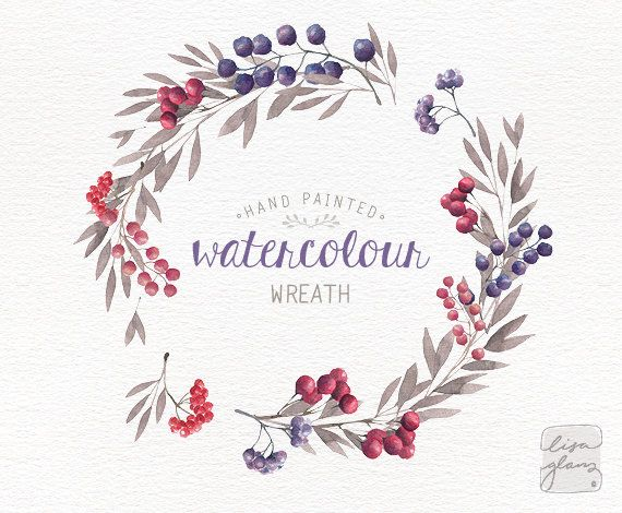 Watercolor wreath: hand painted floral wreath di LisaGlanzGraphics