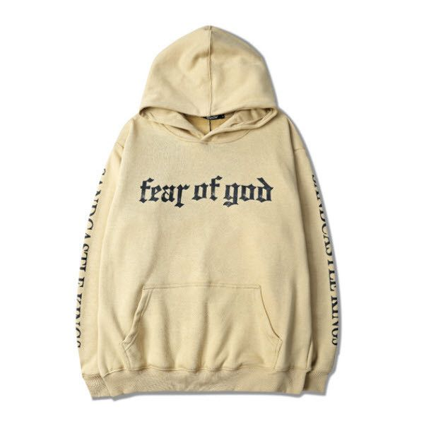 God Hoodie ($48) ❤ liked on Polyvore featuring tops, hoodies, beige, cotton hoodie, cotton hoodies, hooded sweatshirt, hooded pullover and hoodie top