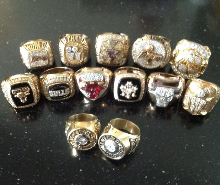Phil Jackson's  13 Championship rings.  2 while playing for the Knicks, 6 with the Bulls, 5 with the Lakers.