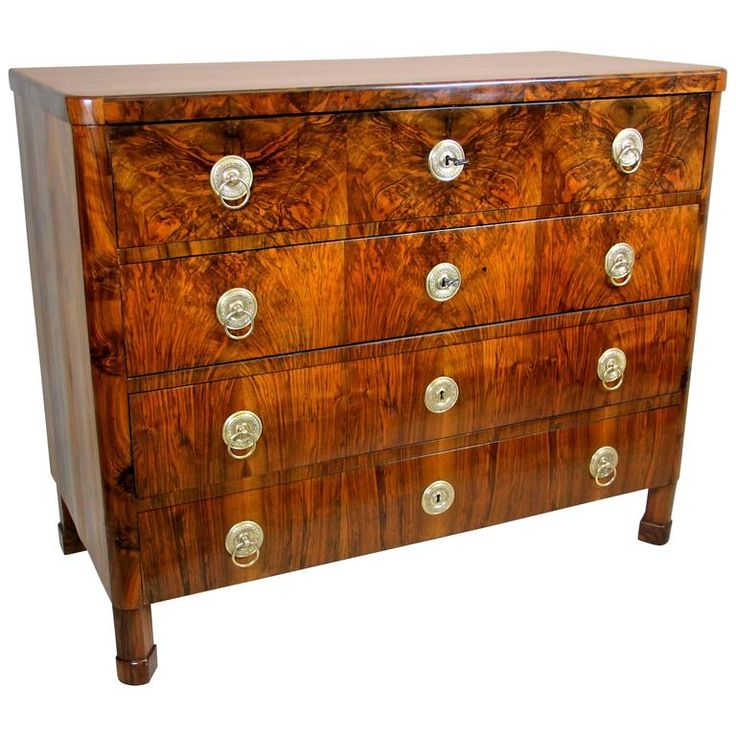 Biedermeier Nut Wood Writing Commode, Austria, circa 1830 | From a unique collection of antique and modern commodes and chests of drawers at https://www.1stdibs.com/furniture/storage-case-pieces/commodes-chests-of-drawers/