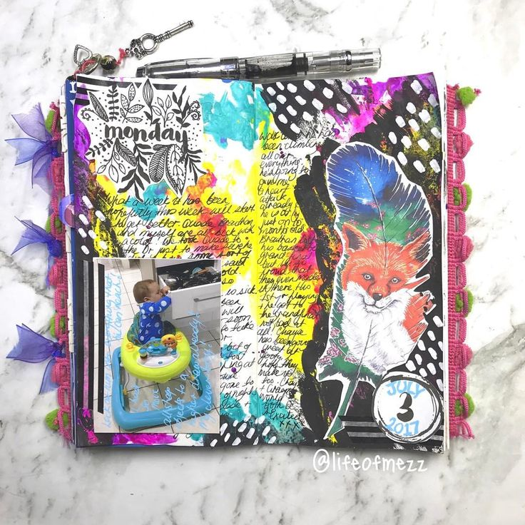 1 Likes, 1 Comments - Mez (@lifeofmezz) on Instagram: theis mixed media journaL PAGE was created using acrylic paint and some collage elements. the feather is a painting I created myself and turned into a printable