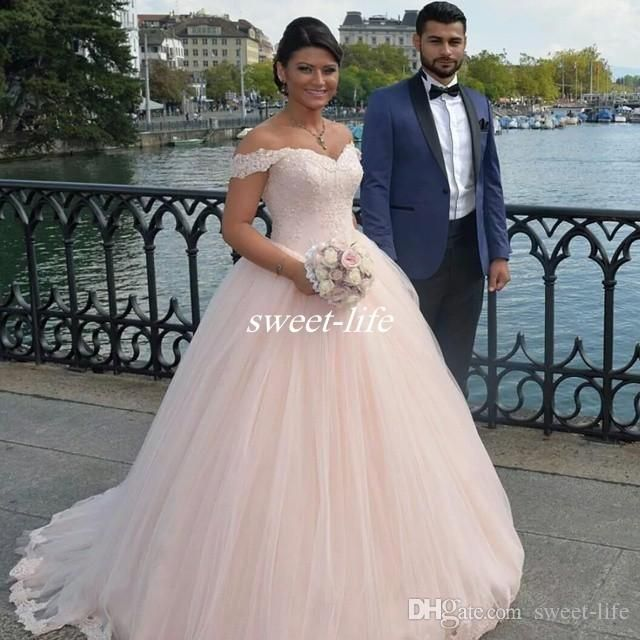 Blush Pink Tulle Wedding Dresses 2016 Spring Plus Size Off Shoulder Lace Sequins Sweep Train Custom Made Outdoor Bridal Gowns