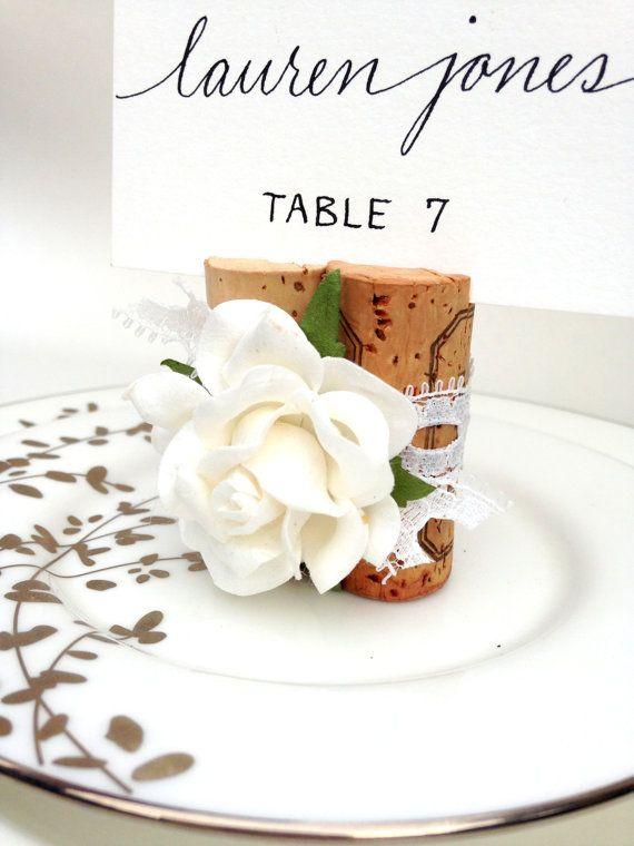 White Lace Place Card Holder, Place Card Holder Wedding, Wine Cork Place Card Holder, Wine Themed Bridal Shower, Wine Theme Wedding, White