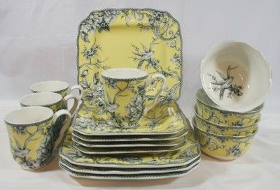 adelaide turquoise 222 fifth dinnerware set | 222 Fifth Adelaide Yellow 16 Piece Dinnerware Set Service for Four ...