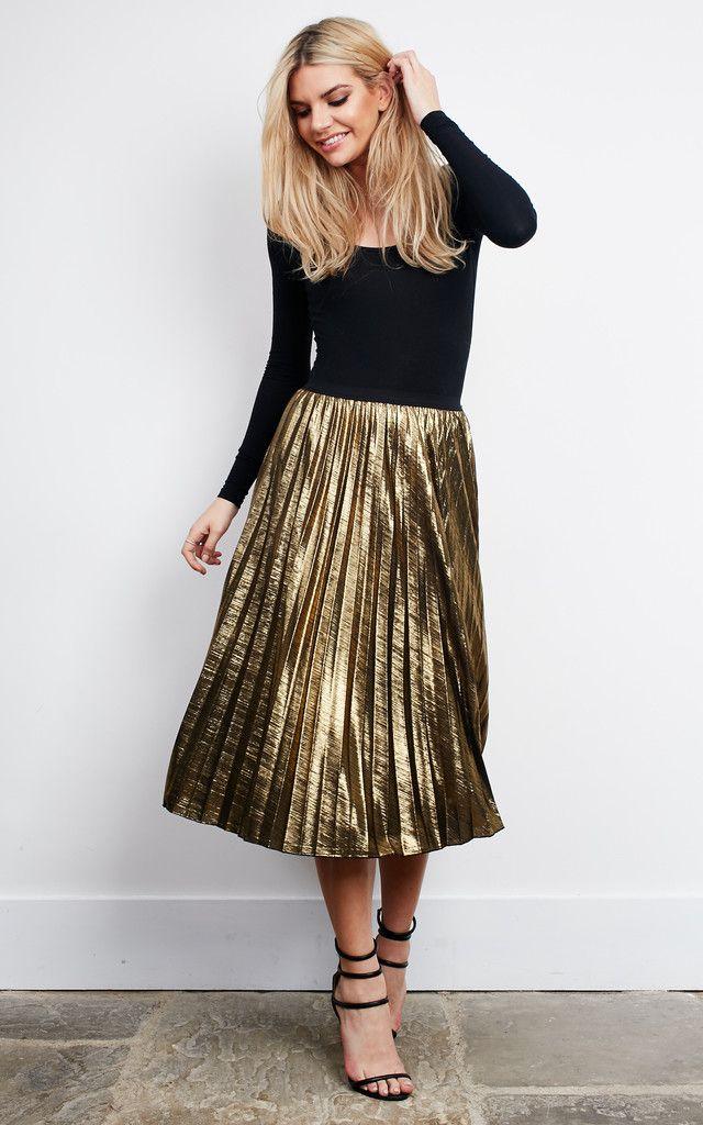 Best 25 Metallic Skirt Ideas On Pinterest Gold Pleated