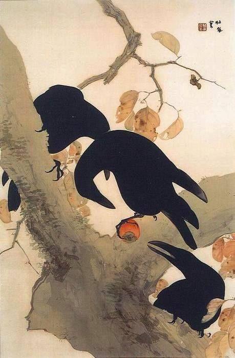 Takeuchi Seiho 竹内 栖鳳. (Japan 1864-1942) 群鵜 Crows (c. 1921)