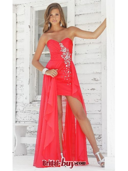 Sweetheart with Sequin and Rhinestone Chiffon Long Red Prom ...