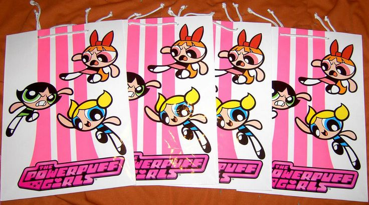 """4 LARGE 17"""" BY 12"""" BY 6"""" POWERPUFF GIRLS GIFT BAGS NEW NEVER USED CARTOON NETWOR"""