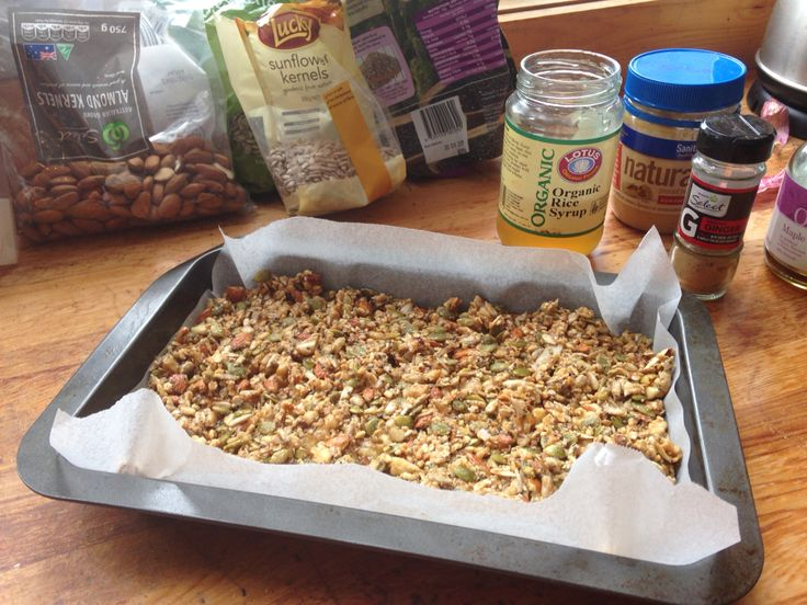 Toasted nut bars 102 calories per serve 1/2 cup of walnuts, pepitas, sunflower seed, almonds, shredded coconut, 1/4 cup of chia then add 1/2 cup of natural peanut butter, 2 tbl of organic maple syrup 1 tbl of rice syrup some cinnamon ginger simmer together for 5 min add to nuts and bake 180 for 20 mins completely cool before cutting.