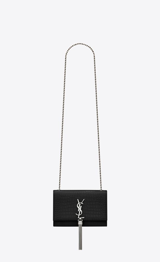 c6bff8fffed7 SAINT LAURENT MONOGRAM KATE Woman Small KATE chain and tassel bag in shiny  black crocodile-embossed leather a V4