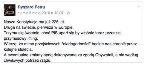 Petru myślał, że Konstytucja 3 Maja obowiązuje i chciał jej bronić przed zmianami. Kolejna wtopa lidera .N | niezalezna.pl