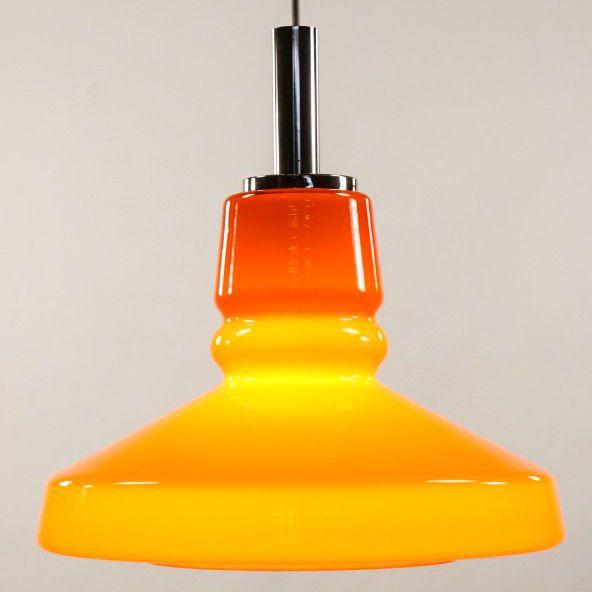 Alte Pendel Lampe Orange Glas Leuchte Bulb Vintage Pendant Lamp 60er 70er Jahre